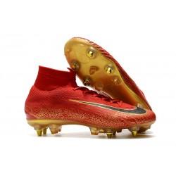 Ronaldo Zapatos de fútbol Nike Mercurial Superfly Elite CR7 SG Rojo Oro
