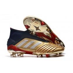 Zapatos de fútbol adidas Predator 19+ FG Oro Plata Rojo