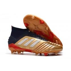 Botas de Futbol adidas Predator 19.1 FG Hombre Oro Plata Rojo