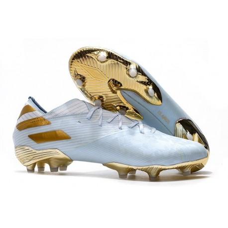 Botas de Futbol adidas Nemeziz 19.1 FG -Agua Dorado metalizado Blanco