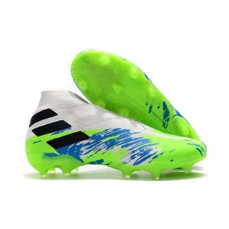 Tacos de Futbol adidas Nemeziz 19+ FG Blanco Verde Negro