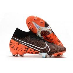 Nike Tacos de Futbol Mercurial Superfly 7 Elite FG Negro Blanco Hyper Crimson
