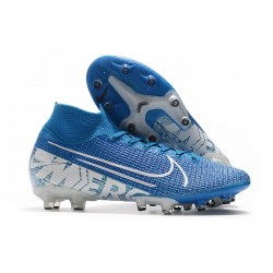 Nike Zapatillas de Futbol Mercurial Superfly VII Elite AG Azul Blanco