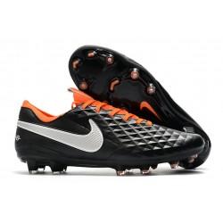 Tacón de Fútbol Nike Tiempo Legend VIII Elite FG Negro Blanco Naranja