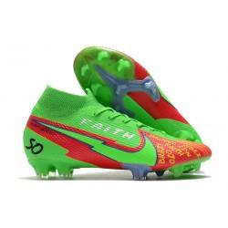 Nike 2021 Mercurial Superfly VII Elite DF FG Verde Rojo