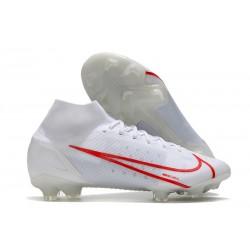 Nike Mercurial Superfly 8 Elite FG Bota Blanco Rojo