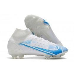 Nike Mercurial Superfly 8 Elite FG Bota Blanco Azul