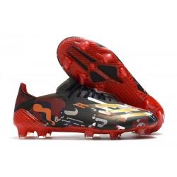 Bota de futbol adidas X Ghosted.1 FG Negro Rojo Oro
