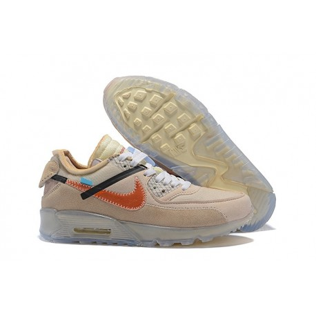 "Zapatillas Off-white X Nike Air Max 90 Hombres ""Desert Ore"" Beige Naranja"